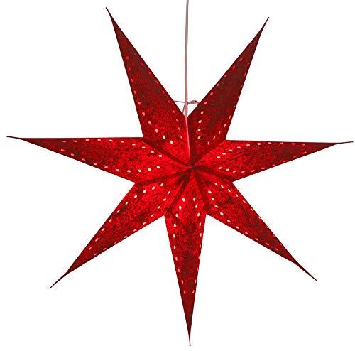 Guru-Shop Faltbarer Advents Leucht Papierstern, Weihnachtsstern 60 cm - Zaratustra Rot, Star Fensterdeko, 5 Spitzen