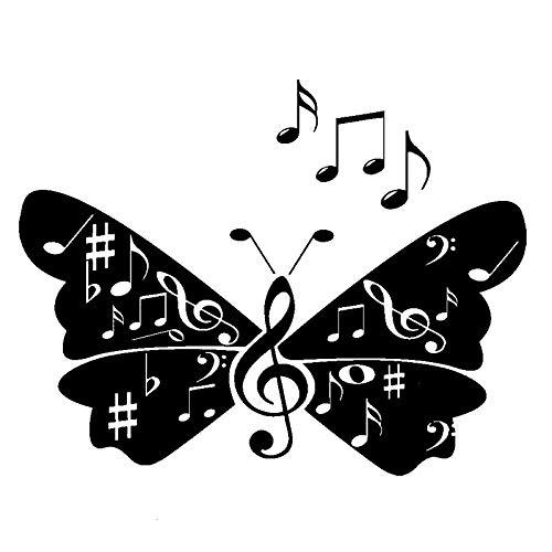 JSsiclsd 2 Stück, Autoaufkleber, Musiknoten Zeichen Schmetterling Flügel Lied Weiß Auto Autoaufkleber wasserdichte Sonnencreme Reflektierende Autoaufkleber Rückspiegel Autoaufkleber