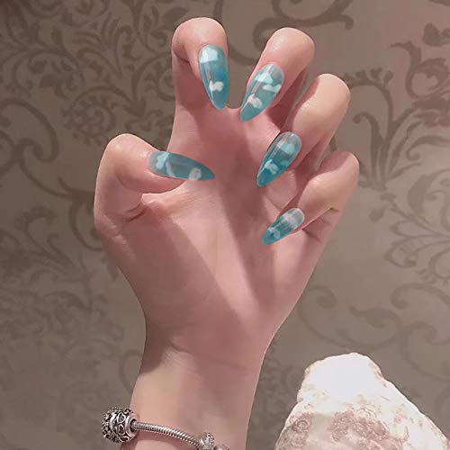 Vaveah 24 Pcs Glossy Press on Nails Fake Nails Shiny Glue on Nails Fashion False Nails for Women (Glossy Sky Blue)