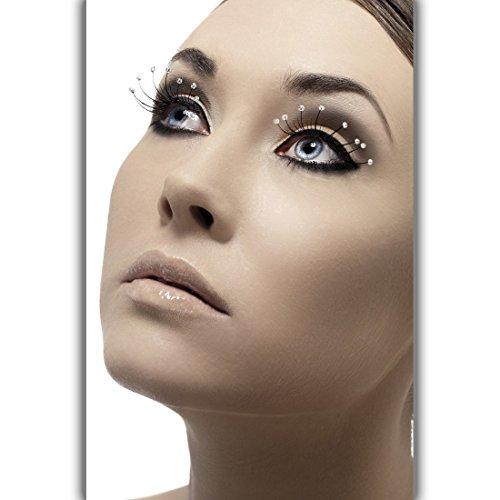 NET TOYS Faux Cils avec des Gouttes - Noir | Cils artificiels | Maquillage Carnaval | Cils Longues
