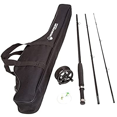 Wakeman Charter Series Fly Fishing Combo with Carry Bag - Black from Trademark Global