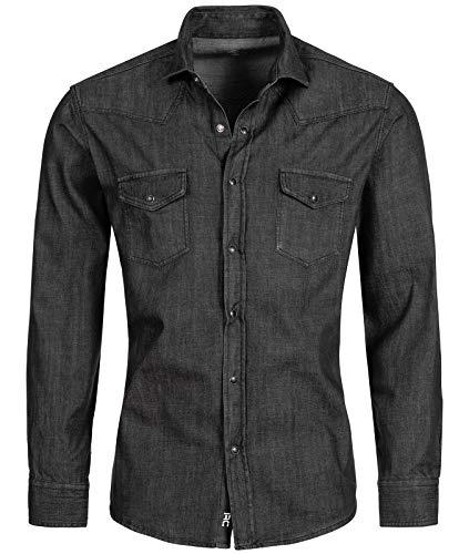 Rock Creek Herren Jeans Hemd Herrenhemd Denim Jeanshemd Vintage mit druckknöpfen Regular Fit Stehkragen Kentkragen Langarm Männer Hemd H-198 Grau M