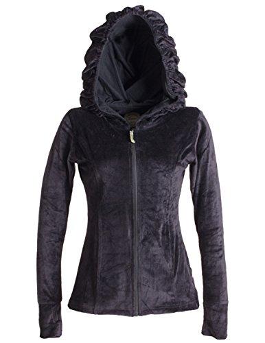 Vishes - Alternative Bekleidung - Samtjacke mit extra großer Geraffter Cape Kapuze, Daumenlöchern und Reißverschluss schwarz 42/44
