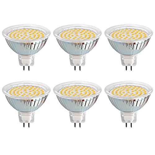 Lampadine LED GU5.3 MR16 5W Luce Calda 3000K, Ø50mm, Equivalente Alogene GU5.3 35W 50W, 500LM, 120 Gradi, Non Dimmerabile, Faretto LED MR16 12V AC/DC per Armadio/Camper, set di 6