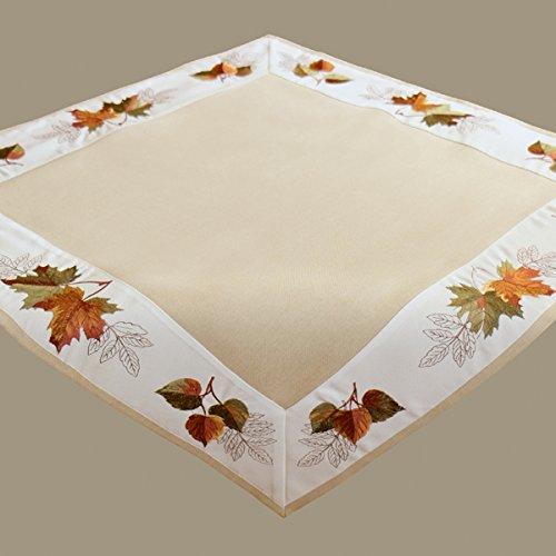 """Tischdecke 85 x 85 cm """"Stickerei Blätter"""" beige bunt Mitteldecke Herbst Tischdeko Herbstdeko"""