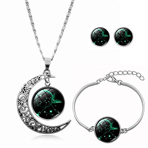 YONGFU 12 Constellation Moon Pendant Charm Crescent Necklace Bracelet Earring Gift for Women (Multicolor-H)