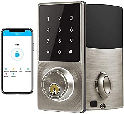 Deadbolt Smart, Door Locks with Keypads, Smart Door Lock, Keyless Deadbolt Lock,Klwenas Maec Easy to Install, Sliver