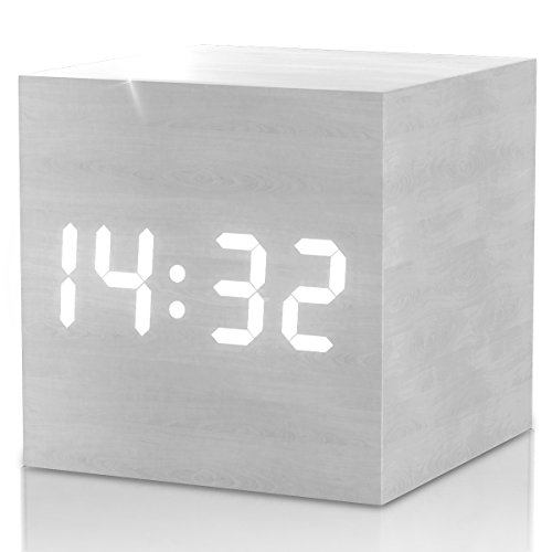 (New Upgraded 2018 Model) White Wood Cube Alarm Clock - Minimal Sleek Design Clocks for Adults, Teens & Kids - Get Today 100% Warranty - For Home and Travel, with LED Digital Display - Limited Edition