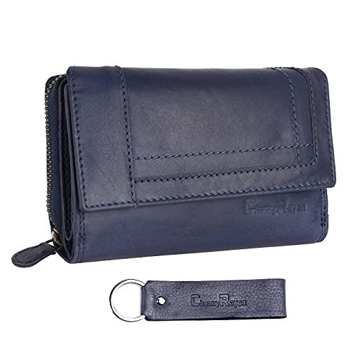 Chunkyrayan Bolsa de Cuero Real para Mujeres Protección RFID Vintage Incluye Llavero de Cuero GB-16 Blue