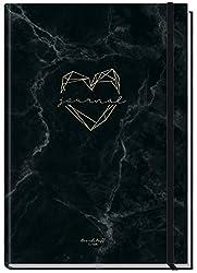 Bullet Journal dotted A5 mit Gummiband [Marble Heart] 156 Seiten | Notizbuch gepunktet, Tagebuch von Trendstuff by Häfft | nachhaltig & klimaneutral