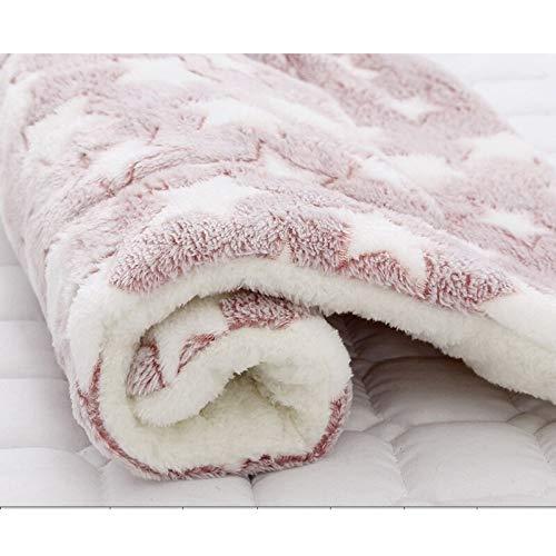 Gobck Pet Blanket Dog Bed Cat Mat Soft Coral Fleece Winter Thicken Warm Sleeping Beds for Small Medium Dogs Cats Pet Supplies (L,F)