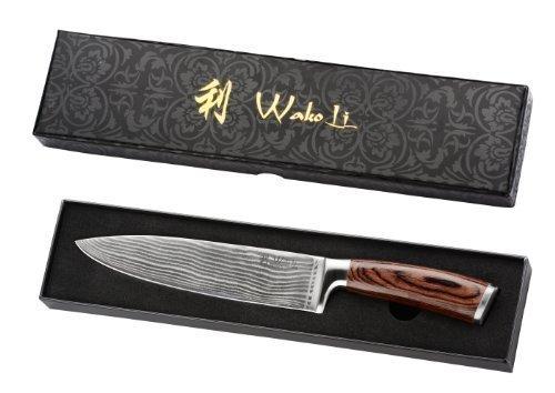 Wakoli Edib Damastmesser Chefmesser, Klinge 20,00 cm Länge - sehr hochwertiges sehr scharfes Profi Chefmesser mit Damastklinge und Pakkaholzgriff, Küchenmesser, Kochmesser