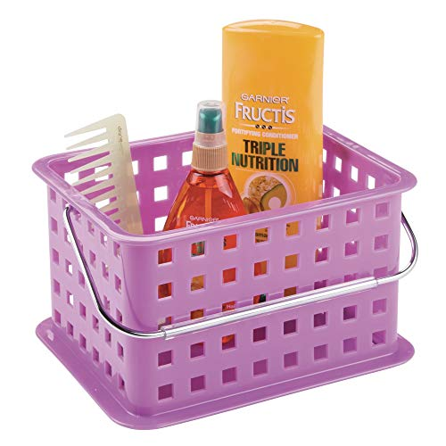 InterDesign Basic corbeille rangement, petit panier salle de bain en plastique pour accessoires de douche et soins, violet
