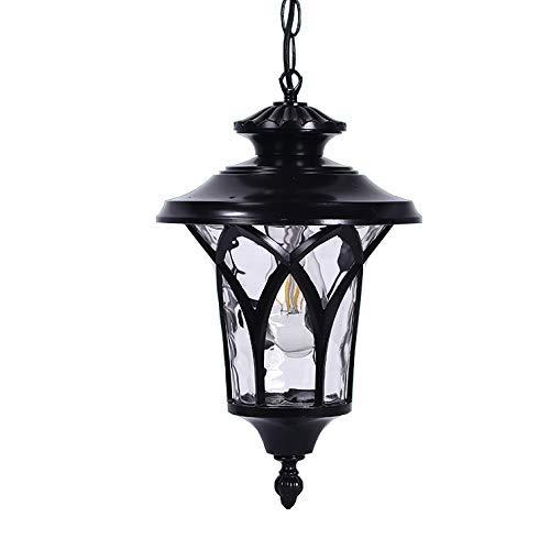 Hanglamp, vintage, zwart, buitenlamp, industrie, E27, waterdicht, IP54 van aluminium, lampenkap van glas, pendel, voor gazebo, tuin, druif, terras, balkon, buitenverlichting, 23 x 32 cm