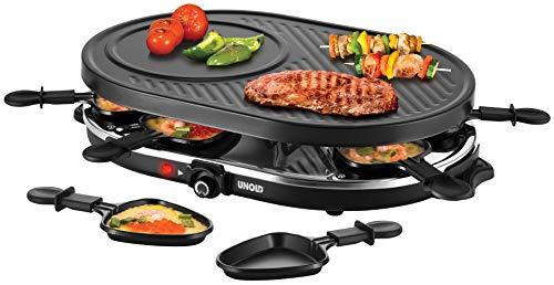 Unold 48795 RACLETTE Gourmet, 1200W, für bis zu 8 Personen, Antihaftbeschichtete Grillplatte, Glatte und geriffelte Oberfläche