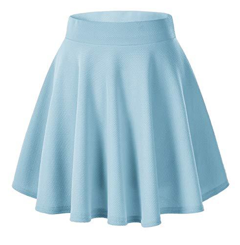 Urban GoCo Falda Mujer Elástica Plisada Básica Patinador Multifuncional Corto Falda (X-Large  Azul Claro)