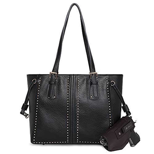 Montana West Large Leather Tote Bags for Women Cute Concealed Carry Shoulder Bags Handbags with Gun Holster (CCW Black)