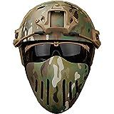 AQzxdc Máscara De Paintball Airsoft, Máscaras De Caza De Tiro Transpirables, Malla De Cara De Caballero De Protección Militar, para Juego De CS BBS Tiro Motocicleta,Set CP