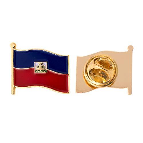 Haiti Land Flagge Anstecknadel Emaille aus Metall Souvenir Hat Herren Frauen Patriotische haitianischen (Waving Flag Revers PIN)