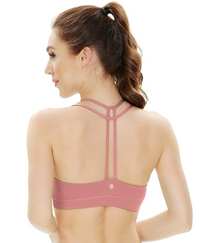 QUEENIEKE Women's Light Support Double-T Back Wirefree Pad Yoga Sports Bra Size XL Color Begonia Pink