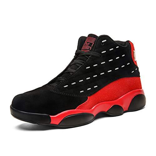 FJJLOVE Niños Niñas Baloncesto Zapatillas De Deporte, Zapatos del Top del Alto De Tenis Zapatos Corrientes De La Absorción De Choque Baloncesto Botas Trainer para Niños Unisex,Negro,40