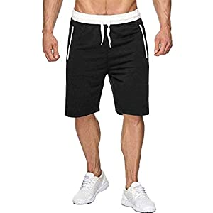 Men's Elastic Waist Drawstring  Workout Shorts