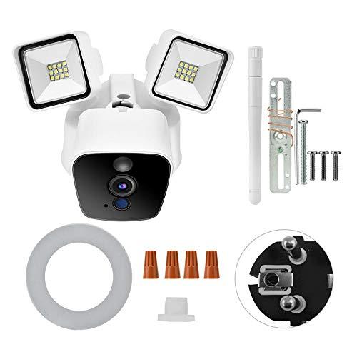 con Pir Alarm Cámara de vigilancia bidireccional con Luces de jardín por Voz(European Standard (100-240v))