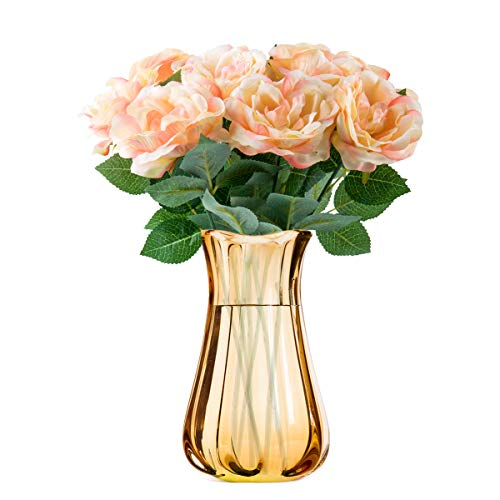 Niceclub 10 Stück Künstliche Pfingstrose Blumen Bouquet Gefälschte Seidenblumen Strauß für Braut Hochzeit Festival Home Decor (Champagner)