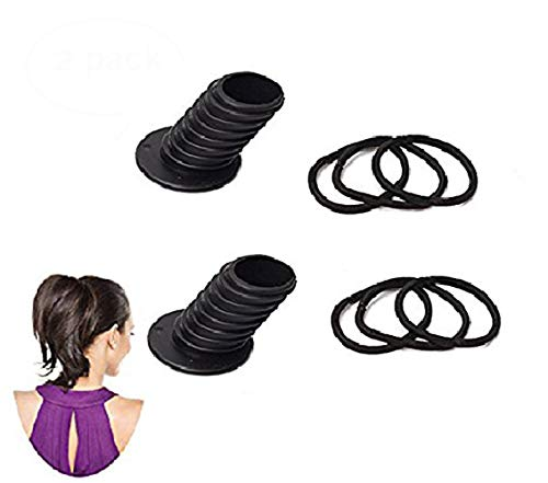 Ponytail Holder Hair Bump Insert Hair Elastics Ponytail Molding Tool Hair Bun Styling for DIY Hairstyles Voluminous Simple Fast Magic Hair Styling Perfect Ponytail Tool for Women Girl 2 Pack Black