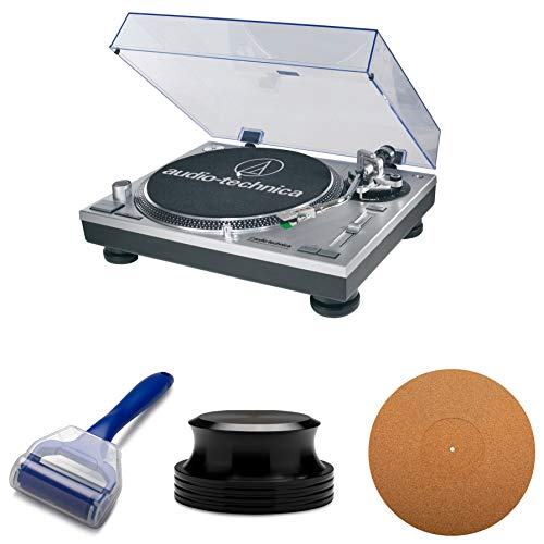 Audio-Technica AT-LP120-USB entraînement Direct USB Platine avec Knox Gear Plateau en liège Tapis, enregistrez Clamp et enregistrer Rouleau de Nettoyage