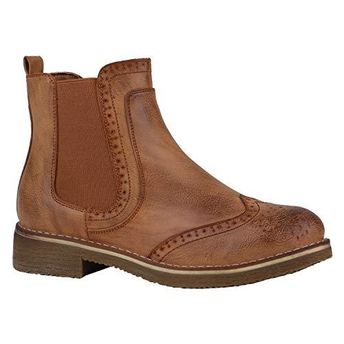 Damen Stiefeletten Chelsea Boots Leicht Gefütterte Freizeit Schuhe 144397 Hellbraun Braun 38 EU Flandell