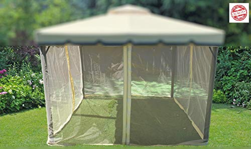 MLI 4 Zanzariere Laterali di Ricambio 3X3 per Gazebo da Giardino Ecru 95878 - Gazebi Moschiera Universale con Zip