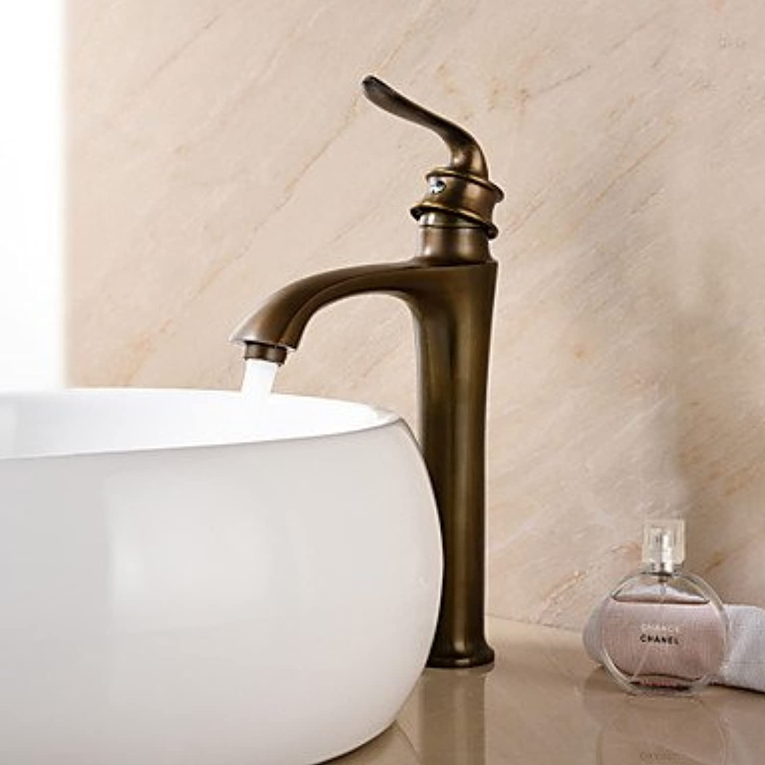 GDS Faucet£? Deck Mounted Single Handle One Hole in Antique Brass Bathroom Sink Faucet