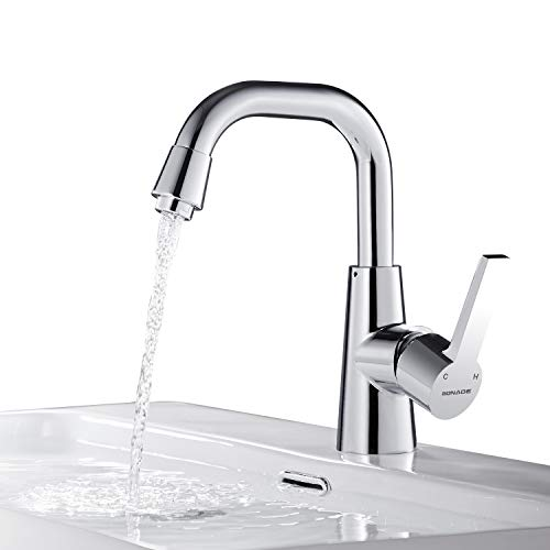 BONADE Wasserhahn Bad 360° drehbare Waschtischarmatur Waschbecken Armatur aus Messing Einhebelmischer Verchromte Badarmatur Mischbatterie für Spüle oder Küche
