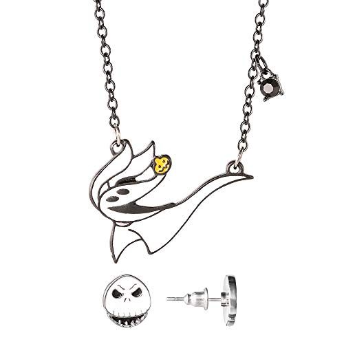 Disney Nightmare Before Christmas Stud Earrings and Necklace Fashion Jewelry Set, Official Licesnse