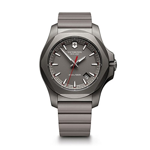 Victorinox Swiss Army Men's I.N.O.X. Titanium Swiss-Quartz Watch with Rubber Strap, Grey, 21 (Model: 241757)