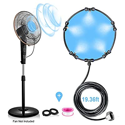 Fan Misting System Kit for DIY Cool Patio Breeze with 20FT (6M) Misting Line & 5 Removable Brass Nozzles Galvanized Solid Brass Adapter 3/4'', Suitable Connects to Any Fan Misters for Cooling Outdoor