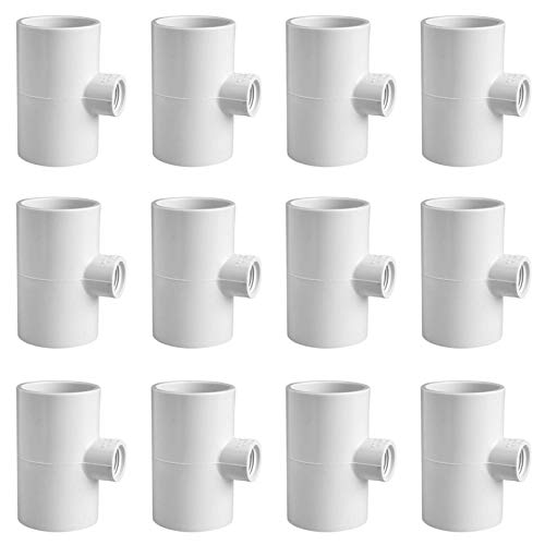 Cruzadel 12 Pack - PVC Tee Fittings for Threaded Poultry Nipples Chicken Waterer - Schedule 40 PVC 1/2 inch Slip X 1/2 inch Slip X 1/8 inch FPT