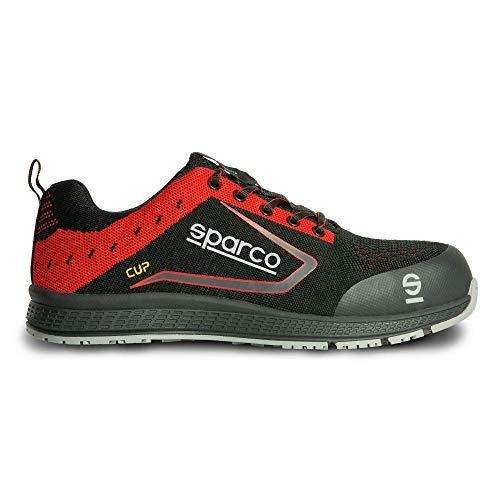 Sparco Teamwork Scarpa Lavoro-Bassa per Uomo E DONNA-CUP-S1P SRC, Stivali Antinfortunistici Unisex-Adulto, Nero/Rosso, 41 EU