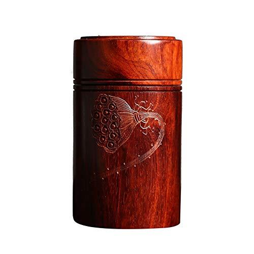 TXOZ - Q Small Leaf Rosewood Mahogany Wood Carving Solid Wood with Lids Portable Ornaments