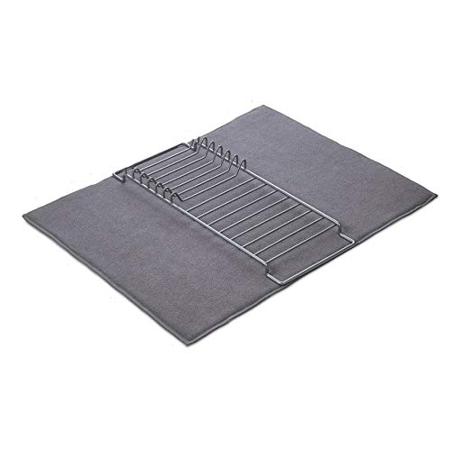Microfiber Dish Drying Mat and Rack  205 x 145 Inches Super Absorbent Microfiber Dish Drainer Pad that Protects Kitchen Counter Lightweight Compact and Easy to Store Space Saving Design
