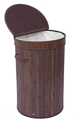 BIRDROCK HOME Round Laundry Hamper with Lid and Cloth Liner - Bamboo - Espresso - Easily Transport Laundry Basket - Collapsible Hamper - String Handles