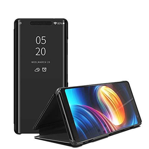 Compatible Funda Translucent Xiaomi Redmi 6A/Redmi 6 Negro, Inteligente Teléfono Carcasa Espejo Mirror Window View, Espejo de Maquillaje Mirror Flip, Estéreo Soporte Pioneer