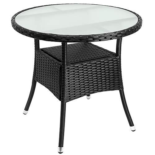 Casaria Poly Rattan Balkontisch Ø 80 x 74 cm Milchglas Rund Gartentisch Beistelltisch Tisch Gartenmöbel Schwarz