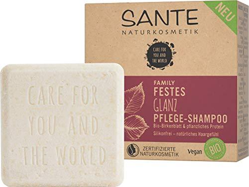 Festes Shampoo von SANTE Naturkosmetik, Glanz-Pflege Shampoo Bar mit Bio-Birkenblatt & pflanzlichem Protein, Für natürlich gesundes Haar, Wie eine Haarseife, Zertifiziert & Vegan, 60 ml