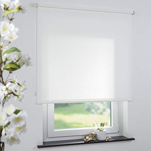 Cocoon Rollo Seitenzugrollo Kettenzugrollo Sonnenschutz Sichtschutz Fensterrollo weiß - 150 x 190 cm