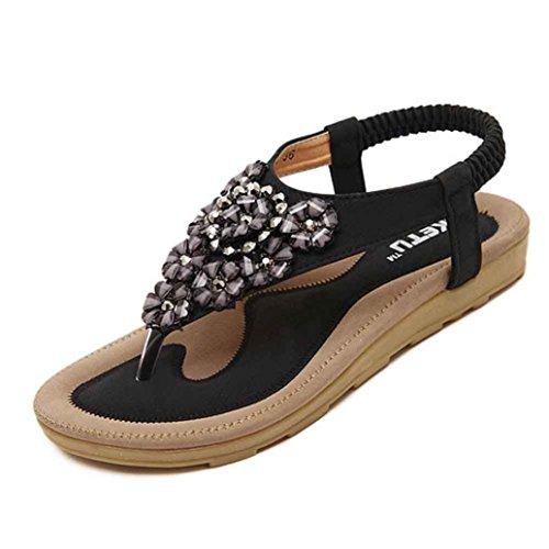 VJGOAL Damen Sandalen, Frauen Mädchen böhmischen Mode Flache beiläufige Sandalen Strand Sommer Flache Schuhe Frau Geschenk (38 EU, T-schwarz)