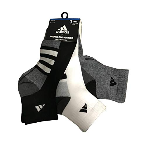 Adidas Men's Cushioned Moisture Wicking Low Cut Assorted 3 Pairs Socks, Black/White/Heather Grey (Shoe Size 6-12)