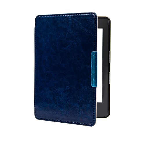 Capa para Kindle 8a geração - Couro PU - Fecho Magnético e Liga/Desliga - Azul Escuro