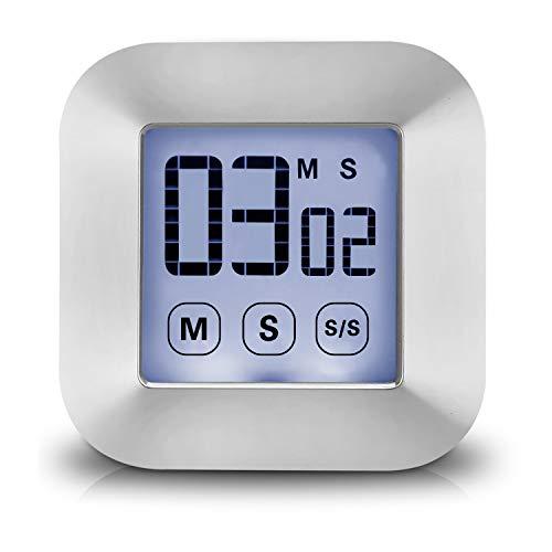 XREXS Küchentimer Digital Magnetisch Kurzzeitmesser Küche mit Uhr, Wecker, Stoppuhr, Memory-Funktion, Einstellbare Lautstärke für Unterricht, Treffen, Prüfungen, Batterie enthalten (touscreen Timer)
